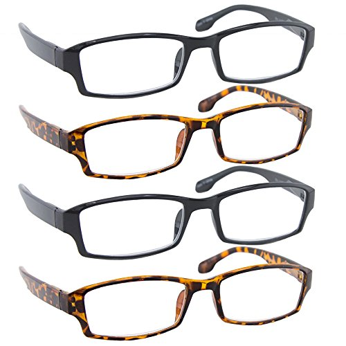 Reading Glasses _ Best 4 Pack_2 Black & 2 Tortoise for Men and Women _ Have a Stylish Look and Crystal Clear Vision When You Need It! _Comfort Spring Arms - Rectangle Black Thick Glasses