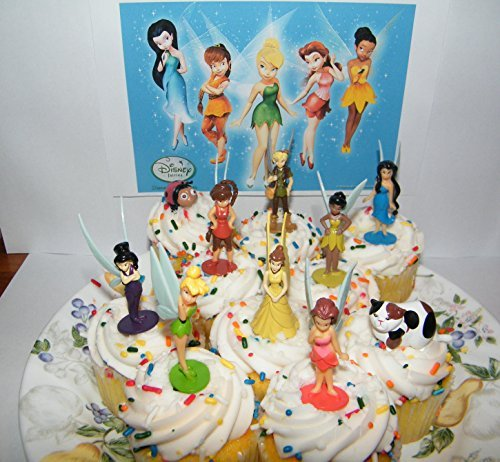 Disney Fairies with Tinkerbell Deluxe Mini Cake Toppers Cupcake Decorations Set of 10 Figures with 8 Fairies and 2 Animal Friends by Fairies