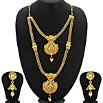 Sukkhi Traditional Gold Plated Wedding Jewellery Kundan Long Haram Necklace Set For Women (N72487GLDPH022018)