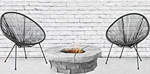 Acapulco Chair All Weather Resort Grade Outdoor Patio Sun Chair By Century Modern Outdoor (2 Piece With FirePit, Black)