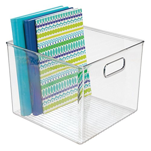 mDesign Plastic Storage Organizer, Holder Bin Box with Handles - for Cube Furniture Shelving Organization for Closet, Kid's Bedroom, Bathroom, Home Office - 10'' x 10'' x 8'' high - 2 Pack, Clear by mDesign (Image #6)