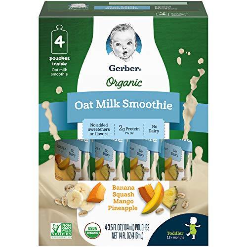 Gerber Purees Organic Oat Milk Smoothie Banana Squash Mango Pineapple, 4Count