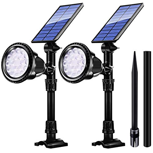 Urlitoy Solar Spotlights Outdoor, Waterproof High Lumen Solar Powered 18 LED Lights, 2-in-1 Functions Fixed or Insert- Ideal for Pathway, Walkway, Patio, Yard, Garden and Landscape (2 -