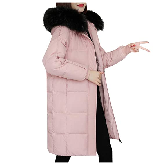 Women/'s Winter Warmer Long Down Jacket Hooded Ladies Thicken Quilted Padded Coat