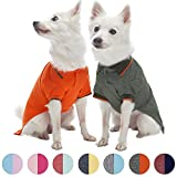 Blueberry Pet Pack of 2 Back to Basic Cotton Blend Summer Dog Polo Shirts in Orange and Olive Green, Back Length 16'', Clothes for Dogs