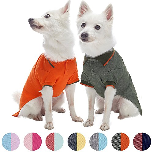 Blueberry Pet Pack of 2 Back to Basic Cotton Blend Summer Dog Polo Shirts in Orange and Olive Green, Back Length 16'', Clothes for Dogs by Blueberry Pet