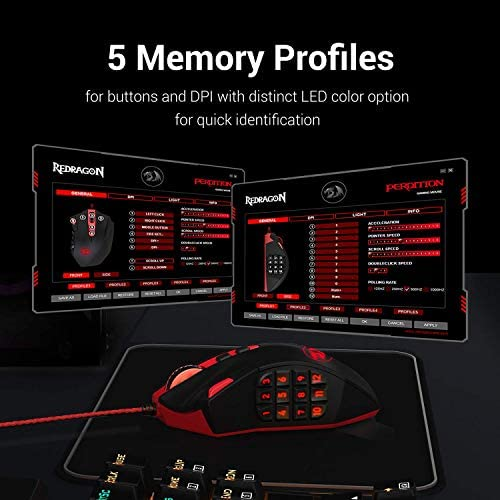 Redragon M901 Wired Gaming Mouse, MMO RGB LED Backlit Computer Mice, 12400 DPI Perdition with 18 Programmable Buttons, Weight Tuning Set for Windows PC Gaming (Black) 51HOVIjn9UL