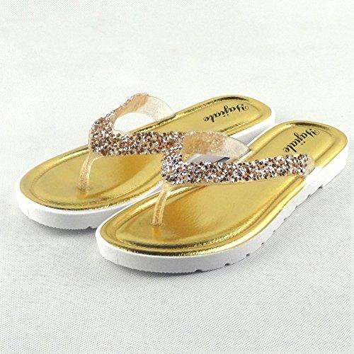 Chfso Moda Rhinestone Mujer Tangas Planas Chanclas Antideslizantes Sandalias De Oro
