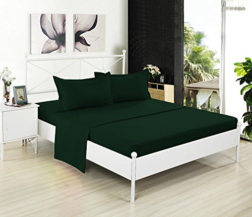 - Crescent Bedding Queen Hunter Green Flat Sheet Only - Soft & Comfy 100% Cotton (Queen, Hunter)