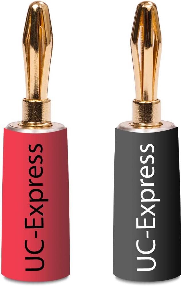 placcati oro 24/K in nero e rosso 24/x connettore a banana High End UC-Express 8X per cavi fino a 6/mm/² saldabili o avvitabili Nakamichi senza plastica