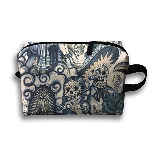 Create Magic - Mexico Indigo Sepia Tone Portable Travel Toiletry Pouch Waterproof Multi-purpose Storage Tote Tools Canvas Bag Cosmetic Makeup Bags With Zipper And Hanging ()
