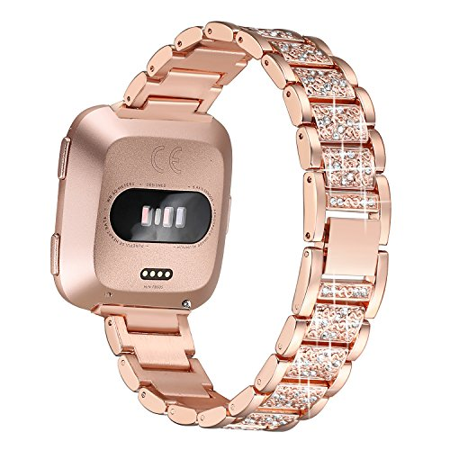 bayite Bling Bands Compatible Fitbit Versa, Metal Bracelet Replacement Band Wristband Accessories Strap for Women, Gold