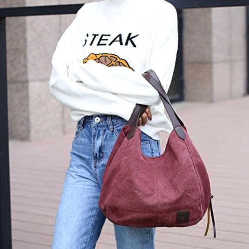 Shoulder pocket Handbag Female Ladies Totes Multi Hobos Handbags Solid Canvas Bags Single Handbags Purple Woman 0CqxwBH