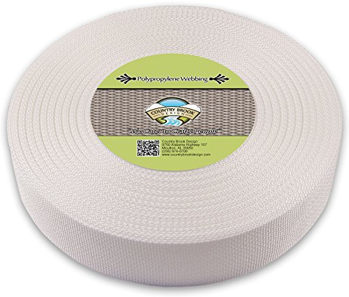 Country Brook Design 2 Inch White Heavy Polypropylene (Polypro) Webbing, 50 Yards