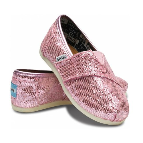 Toms Youth Classic Glitter Shoes, Pink, Size 2 M US Infant, EU 17 -