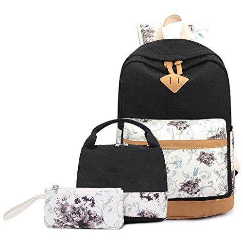 Abshoo Lightweight Canvas Cute Girls Bookbags for School Teen Girls Backpacks With Lunch Bag (Floral Black Set)