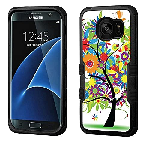 Fit Galaxy S7 EDGE, One Tough Shield  3-Layer Shock Absorbent Hybrid phone Case (Black / Black) for Samsung Galaxy S7 EDGE - (Colorful Tree) Sales