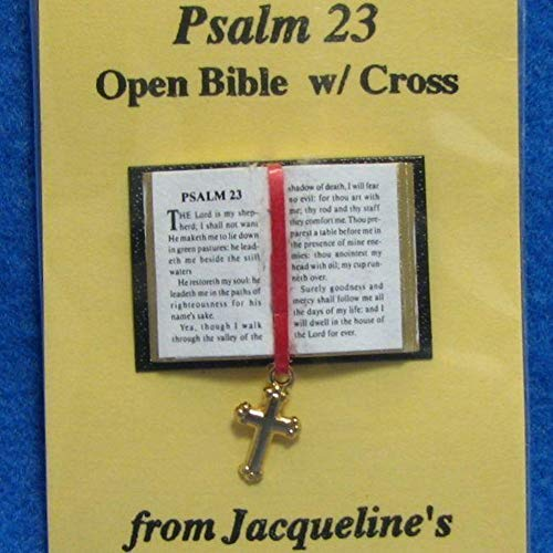 Dollhouse Open Bible 23rd Psalm w Cross Jacqueline's 4920 Readable Miniature ()