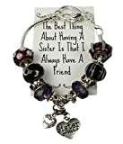 Gift Bracelet For Sister Your Best Friend Charm and Bead 8 Inch Silver Chain IN GIFT BOX