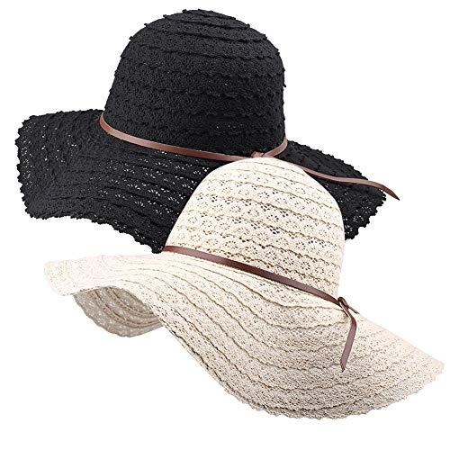 (Wide Brim Sun Hats for Women Floppy Summer Beach Hat UV UPF Travel Packable Foldable With Chin Cord By Milkfeel)