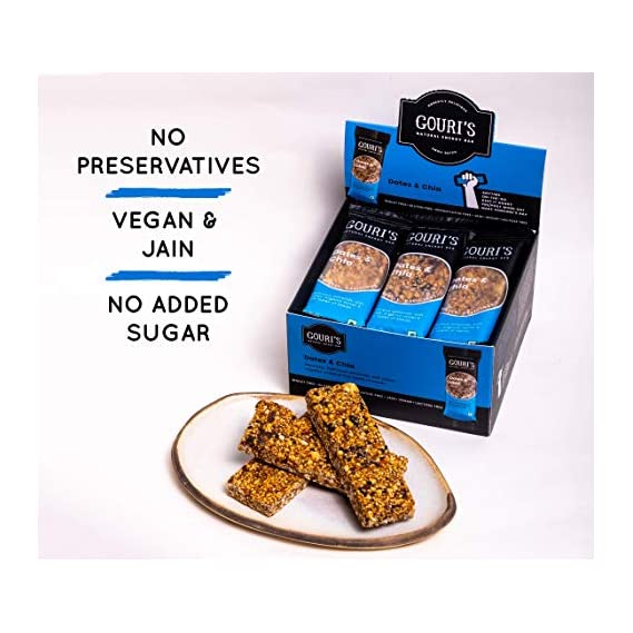 Gouri's Goodies - Vegan Energy Bar   Dates and Chia   Gluten Free Snacks   Granola Snack Nutrition Bars   420g   35 gm x 12 Bars   No Added Sugar   Free from Preservatives   Jain Food