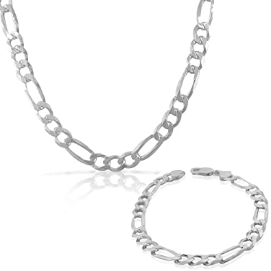 bf7cce8ef Image Unavailable. Image not available for. Color: 925 Sterling Silver Mens  Classic Figaro Link Chain Necklace Bracelet Set - Made in Italy