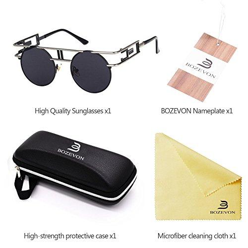 de Gafas Flash gótico Lente sol Steampunk Vintage Espejo de Plateado Reflejo BOZEVON negro Gafas pHqdzKz
