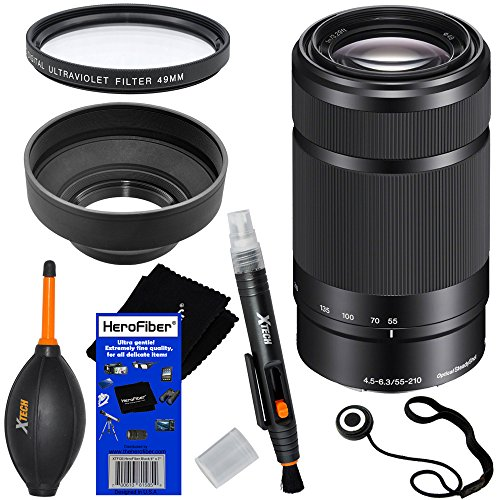 Sony E 55-210mm f/4.5-6.3 OSS E-Mount Telephoto Zoom Lens – Black – International Version (No Warranty) for a3000, a5000, a5100, a6000, Alpha NEX-3, NEX-3N, NEX-5N, NEX-5R, NEX-5T, NEX-6, NEX-7 & NEX-F3 Digital Cameras, NEX-VG30, NEX-VG30H & NEX-VG900 Interchangeable Lens Camcorders + 6pc Bundle Accessory Kit w/ HeroFiber Ultra Gentle Cleaning Cloth