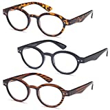 GAMMA RAY READERS 3 Pairs of The Teacher Round Unisex Spring Hinge Readers Fit for Men and Women Reading Glasses - With 1.75 Magnification