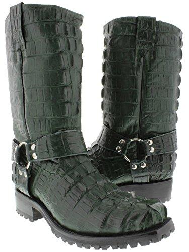 EL PRESIDENTE - Men's Green Full Crocodile Tail Leather Biker Motorcycle Boots 8 D(M) US