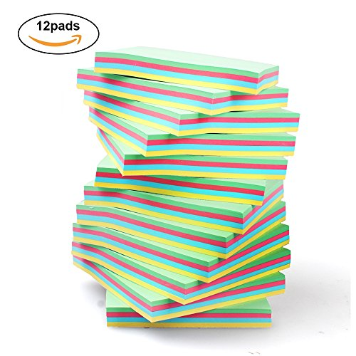 Sticky Notes 3x3 inches, 12 Pads, 100 Sheets/Pad, Colorful Self-Stick Notes for Home, Office