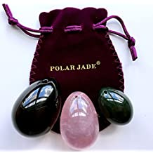 Yoni Jade Eggs Master Healer Set of 3 Gemstones, Drilled, with String & User Instructions, Made of Nephrite Jade, Rose Quartz and Black Obsidian, L/M/S 3 Sizes for Training Love Muscles or as Display Art
