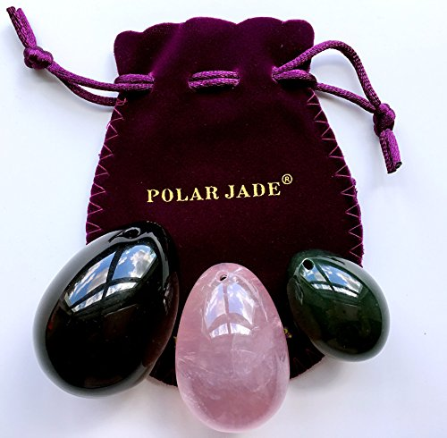 - Yoni Eggs 3-pcs Set of 3 Gemstones, Drilled, with String & User Instructions, Made of Nephrite Jade, Rose Quartz and Black Obsidian, L/M/S 3 Sizes for Training Love Muscles as Kegel Exercisers