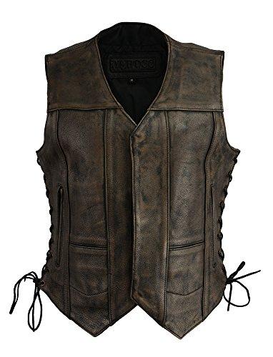 M Boss Apparel BOS24500 Ladies Distressed Black and Beige 6 Pocket Vest with Exterior Gun Pocket - - Beige Apparel
