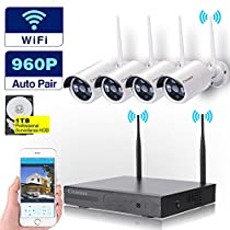 Cromorc Wireless Video Security Camera System WIFI NVR Kit 4CH 1080P NVR 4pcs 960P Indoor Outdoor Bullet IP Cameras P2P IR Night Vision Waterproof Plug and Play Easy Remote View Playback with 1TB HDD