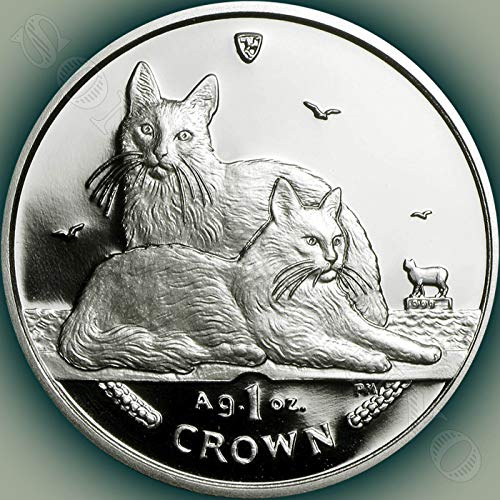 2011 TURKISH ANGORA CAT COIN - 1 Oz .999 Silver Proof Crown Coin - Isle of Man - Brand New from the Mint in Box with Certificate of Authenticity