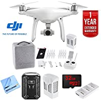 DJI Phantom 4 Quadcopter Drone (CPT.PT.000312) with Ultimate Bundle With hard shell Backpack, 32GB Card, 2 Batteries, Triple Charge Hub, Microfiber Cloth and One Year Warranty Extension