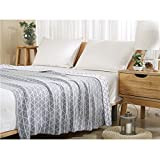 All-purpose Thermal Natural Geometric 100% Cotton Knit Throw Blanket for Couch Bed 47 x 70 Light Grey