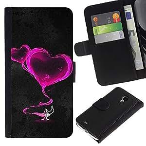KingStore / Leather Etui en cuir / Samsung Galaxy S4 Mini i9190 / Dos corazones de color rosa