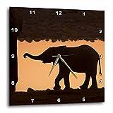 3D Rose Africa-Namibia-Etosha. Silhouette of Baby Elephant At Sunset Wall Clock, 10'' x 10''
