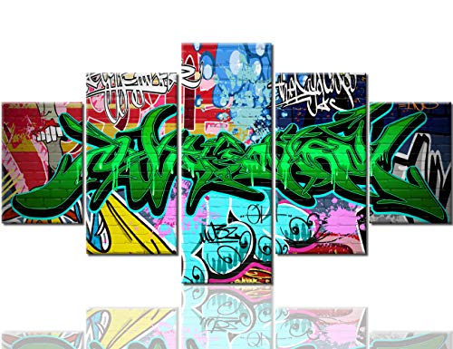Graffiti Wall Art Colorful Pictures Paintings 5 Panel Canvas Modern Artwork Contemporary Home Decor for Living Room Giclee Wooden Framed Gallery Wrapped Ready to Hang Posters and Prints(60''Wx32''H) ()