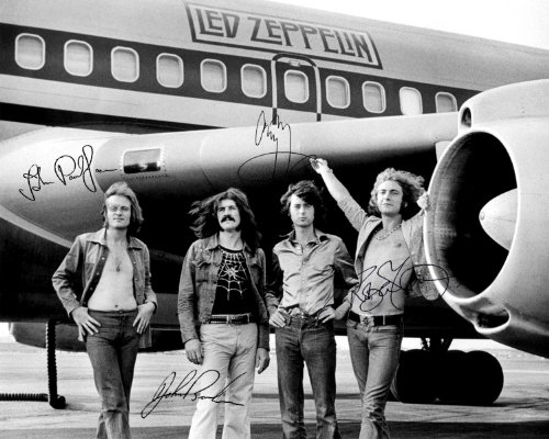 Led Zeppelin early band signed reprint photo All 4 Jimmy Page