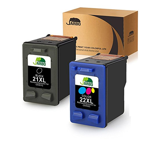 JARBO Manufactured Ink Cartridge for HP 21 22 21XL 22XL, 1 Black+1 Tri-Color, Used with HP Officejet 4315 J3680 Deskjet 3915 3930 3940 D1341 D1420 D1455 D1520 D1530 D1560 D2330 - 21 Inkjet Cartridge Print