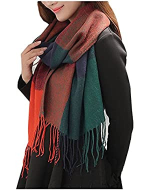 Women's Fashion Long Shawl Big Grid Winter Warm Lattice Large Scarf