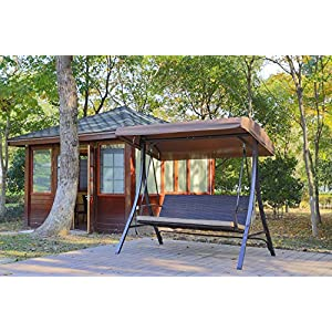 Angel Living Swing Chair Garden Patio Rattan Canopy Swing 3 Seat Swinging Hammock Cushioned Bench Seat