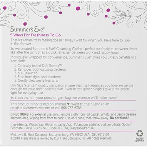 51HOa1fsWAL - Summer's Eve Cleansing Cloths | Simply Sensitive |16 Count | Pack of 3 | pH-Balanced, Dermatologist & Gynecologist Tested