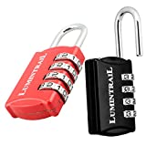 Lumintrail 2 Pack Set-Your-Own 4 Digit Combination Padlock with 1/2 Inch Shackle Lock All Metal- Assorted Colors (Black+Red)