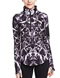 icyzone Womens Workout Yoga Track Jacket 1/2 Zip Long Sleeve Running Shirt
