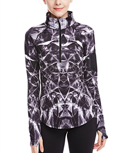 icyzone Women's Workout Yoga Track Jacket 1/2 Zip Long Sleeve Running Shirt – DiZiSports Store