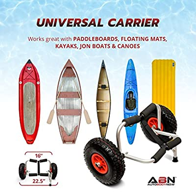 ABN Universal Kayak Carrier - Trolley for Carrying Kayaks, Canoes, Paddleboards, Float Mats, and Jon Boats